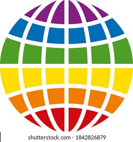 LGBT globe icon on a white background. Isolated LGBT globe symbol with flat style.