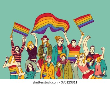 Lgbt happy gay meeting people group and sky. Color vector illustration. EPS8