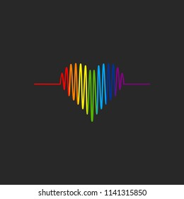 LGBT heart cardiogram icon. LGBT pride symbol. Vector illustration.