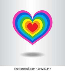 lgbt heart shape love background icon vector / love lgbt heart shape,  freedom flag, pride flag