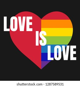 LGBT heart in vector.  Design element for Valentines cards.  Love is love