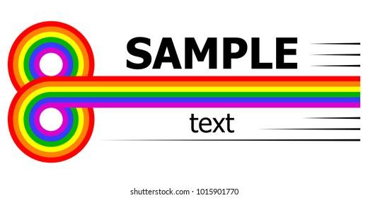 lgbt horizontal rainbow logo 8 infinity multicolored stripes, vector template company logo or free thinking people club