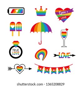 LGBT icon vector set with flag and rainbow. Pride parade cartoon elements. Gay party stickers.