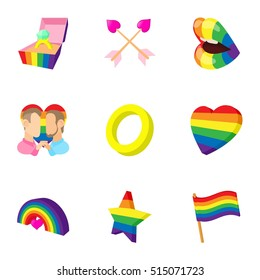 LGBT icons set. Cartoon illustration of 9 LGBT vector icons for web