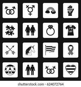 Lgbt icons set in white squares on black background simple style vector illustration