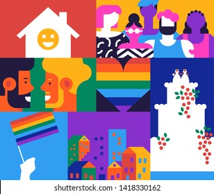 Lgbt illustration concept for gay rights or social issues. Colorful  mosaic illustration includes same sex couple, diverse people group and more.