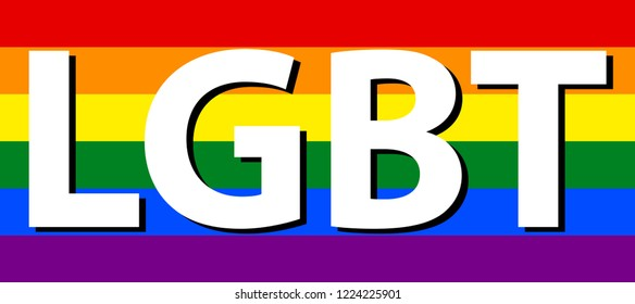LGBT (Lesbian, Gay, Bisexual & Transgender) Text White Color in Rainbow Flag. Rainbow Flag Commonly Known As Gay Pride Flag or LGBT Pride Flag. The Colors Reflect The Diversity of The LGBT Community.