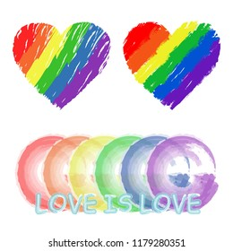 LGBT LGBTQ pride flag heart cloud logo. Rainbow love concept. Hand drawn grunge. Human rights and tolerance. Modern design. Fashion print for clothes, cards, picture banner for websites. Vector
