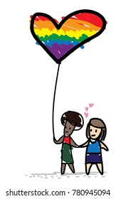 LGBT Love sign, Two people holding hands and hold a rainbow heart balloon.