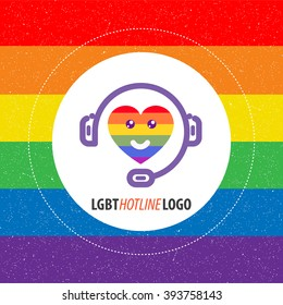 lgbt nice and modern hotline logo. gay support.