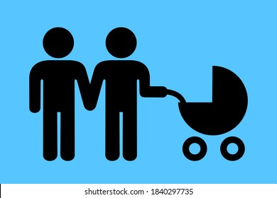 LGBT parenting - two homosexual gay men and males have child and baby. Homosexuality, raising child, childcare and parenting. Samesex couple and parenthood. Vector illustration.