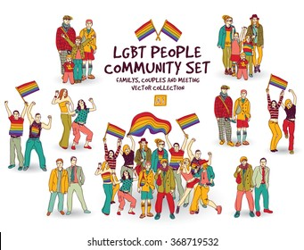 Lgbt people community set isolated group. Color vector illustration. EPS8