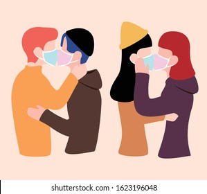 lgbt people kiss under masks