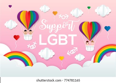 LGBT pride concept, Balloons in shape of heart flying in clouds support for Gay and Lesbian Couples, love for Valentine's day with paper cut layer style vector illustration