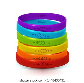 LGBT Pride concept. Rainbow rubber bracelets for homosexualist. Colorful silicone wristbands with symbols of gender: Lesbian and Gay. Day of bisexuality and International Day for Tolerance poster