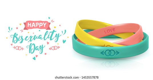 LGBT Pride concept. Three rubber bracelets for homosexualist. Silicone wristbands with symbols of gender: Lesbian and Gay. Day of celebration of bisexuality and International Day for Tolerance poster