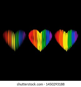 LGBT pride flag, logo. LGBTQ love symbol background. Modern design. Heart hand drawn. Fashion print for clothes, cards, picture banner for websites. Vector illustration