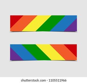 LGBT Pride Flag in Vector Format. Rainbow Flag. Pride Horizontal Object Stickers, Price Tag, Label, Card. Vector Illustration. LGBT community symbol. Rainbow. Lesbian, Gay, Bisexual, Transgender.