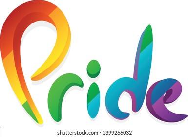 lgbt pride free love gay lesbian bisexual transgender rainbow flag 3d logo vector word inscription sign