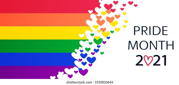 LGBT Pride Month 2021 vector concept. Freedom rainbow flag with hearts isolated. Gay parade annual summer event