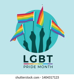 LGBT pride month with hands hold rainbow flag in circle vector design