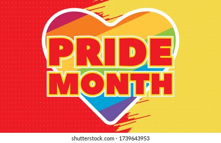LGBT Pride Month in June. LGBT flag in text. Poster, card, banner, background, T-shirt design. Vector ilustration. EPS 10