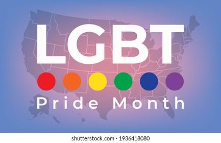 LGBT Pride Month in June. LGBT flag in text. Poster, card, banner, background, T-shirt design. Vector ilustration. EPS 10