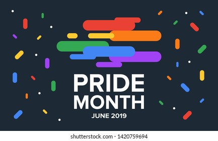 LGBT Pride Month in June. Lesbian Gay Bisexual Transgender. Celebrated annual. LGBT flag. Rainbow love concept. Human rights and tolerance. Poster, card, banner and background. Vector ilustration