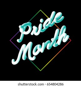 LGBT Pride Month typographic sign on black in modern 3D script neon font style with rainbow diamond shape. Vector template design for social cause banner. Promoting equality and sexual freedom.