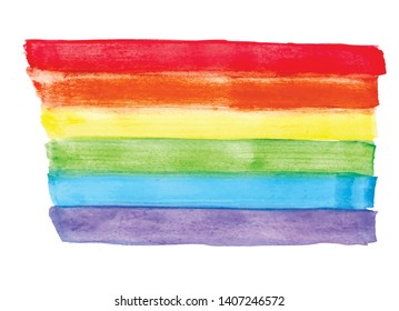 LGBT pride rainbow flag, watercolor effect