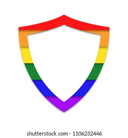LGBT private life protection shield vector icon.