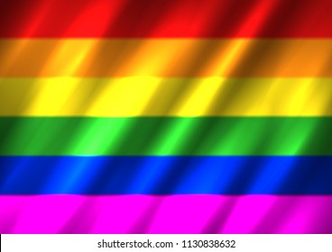LGBT rainbow flag background. Waving pride sign backdrop. Bisexual gay lesbian transsexual symbol. Love orientation lifestyle illustration