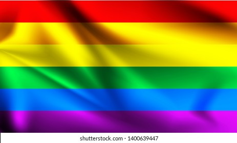 LGBT rainbow flag background. Waving pride sign backdrop. LGBTI flag. Bisexual gay lesbian transsexual symbol. Love orientation lifestyle illustration