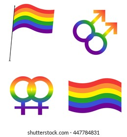 LGBT rainbow flag. Gay men symbol. Lesbian symbol. Icon set. Vector illustration.
