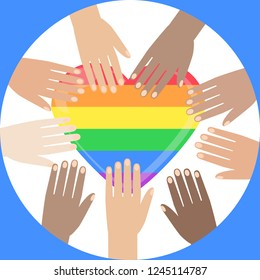LGBT rainbow heart. Celebrating gay people rights. Same-sex love. Pride. Vector Illustration