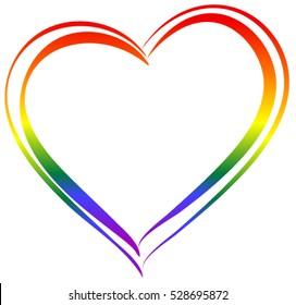 LGBT rainbow heart symbol love. Isolated on white vector illustration icon