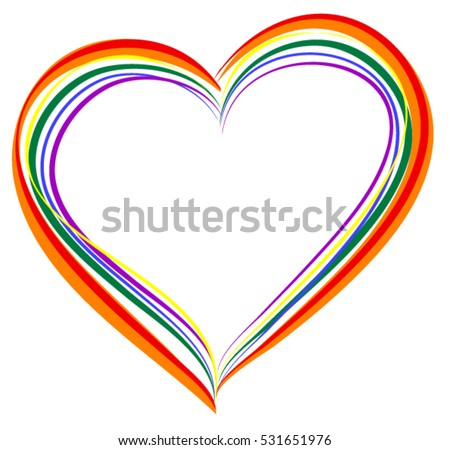 Lgbt Rainbow Heart Symbol Love Isolated Stockvector Rechtenvrij