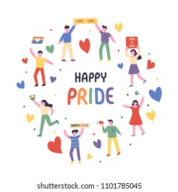 LGBT rainbow pride festival day characters flat design style vector graphic illustration set