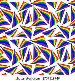 LGBT rainbow seamless pattern. rainbow flag on a white background.  pattern for fabric, wrapping paper, web design
