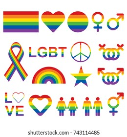 LGBT related symbols set in rainbow colors. Pride, freedom flags, hearts, peace, star figures, gender symbols. Vector illustration