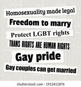 LGBT rights and equality. Newspaper headlines. Media titles. LGBT rights concept vector illustration.