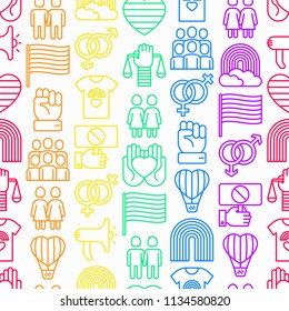 LGBT seamless pattern with thin line icons: gay, lesbian, rainbow, coming out, free love, flag, support, stop homophobia, LGBT rights, pride day. Modern vector illustration.