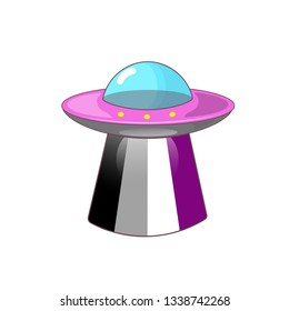 LGBT sign for asexual people. Alien spaceship icon in flat design. Futuristic unknown flying object. - Vector