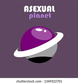 LGBT sign with dark background. Planet icon for asexual people