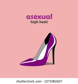 LGBT sign with pink background. High heel shoes icon in asexual flag colors