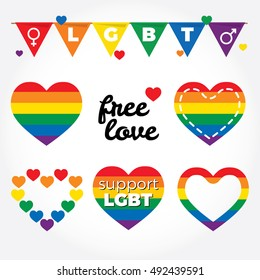 Lgbt support, fight for gay rights, hearts graphic set, rainbow colors. Modern flat vector illustration stylish design element