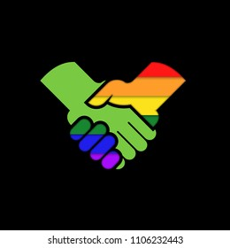 LGBT support handshake in rainbow colors vector icon.