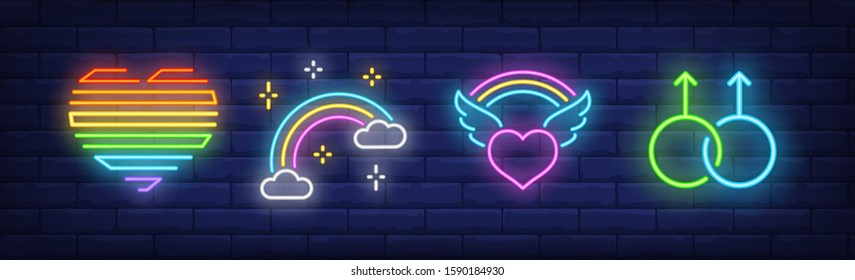 LGBT symbols neon sign set. Rainbow, heart, wings, male. Vector illustration in neon style, bright banner for topics like homosexual relationships, gay pride, community