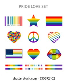 LGBT symbols set in rainbow colors: pride, freedom flags, hearts, peace, star and lips
