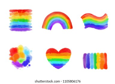 LGBT symbols and signs set against homosexual discrimination. Vector hand drawn